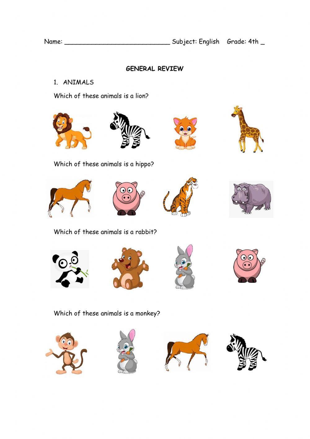 hight resolution of Animals online exercise for 4th