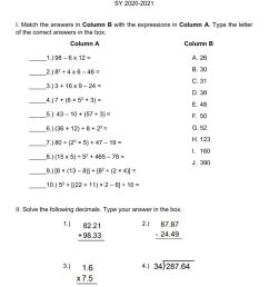 Math 9 1st Qtr Summative Test B worksheet [ 1291 x 1000 Pixel ]