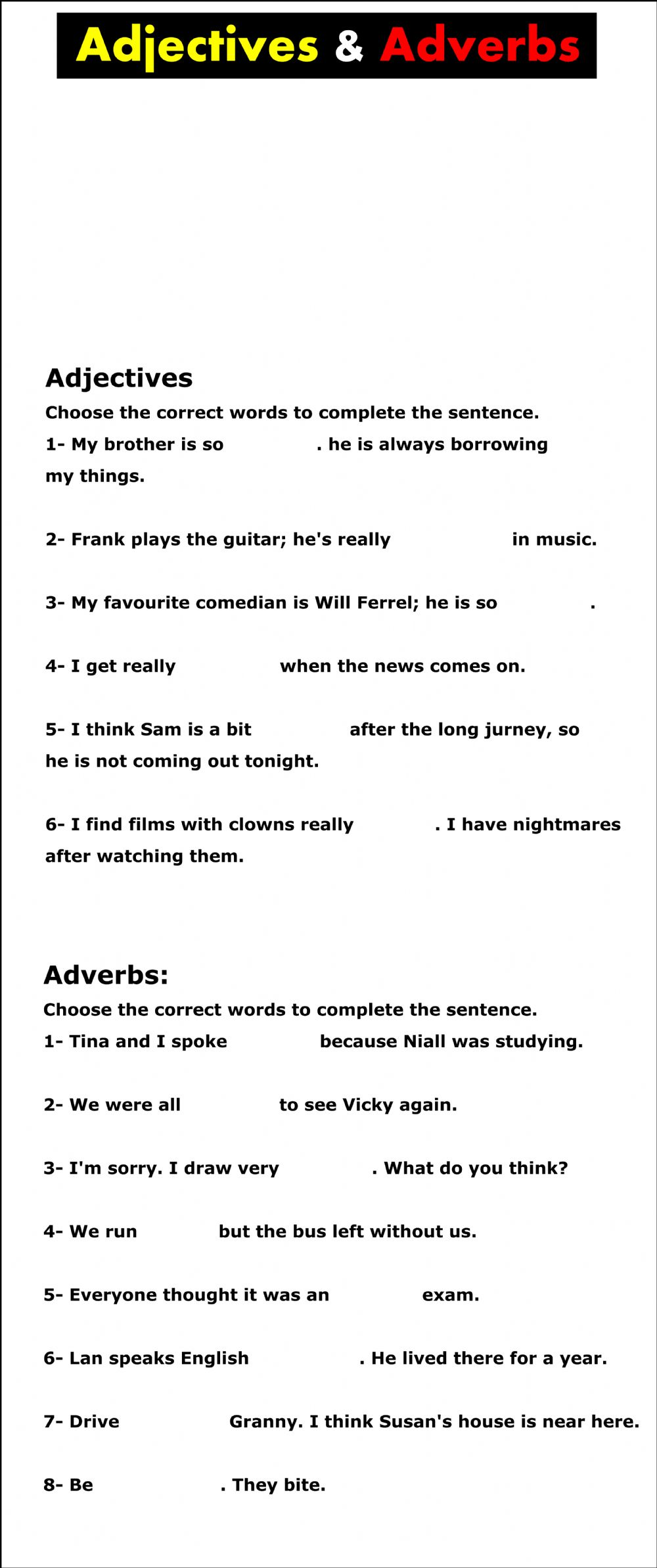 medium resolution of Adjectives and adverbs worksheet ( 9th grade) worksheet