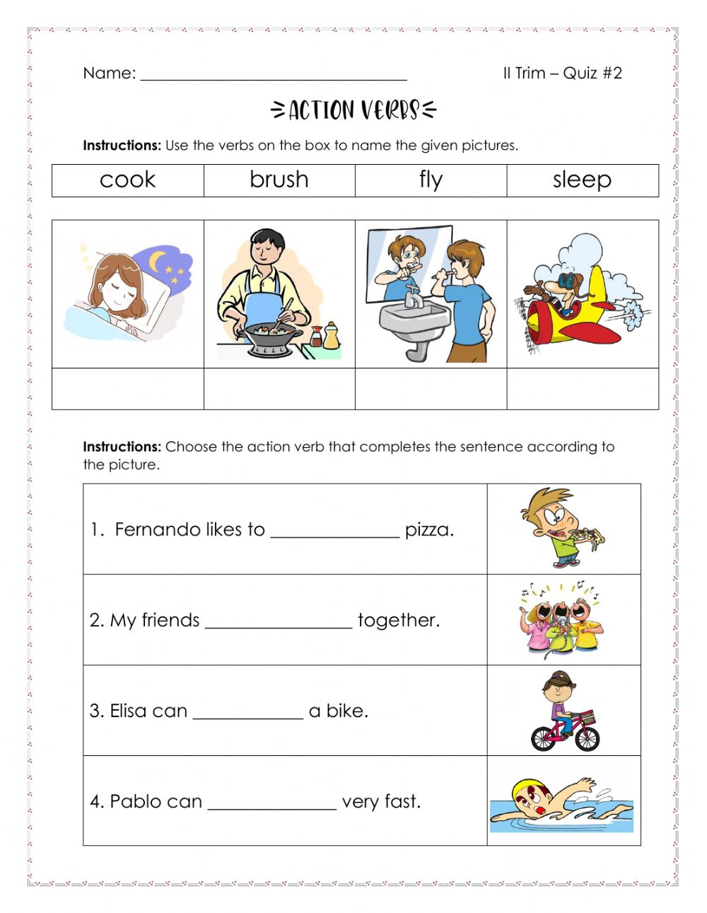 hight resolution of Action Verbs interactive activity for Grade 2