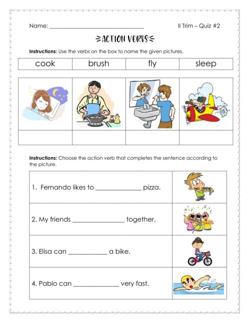 small resolution of Action Verbs interactive activity for Grade 2