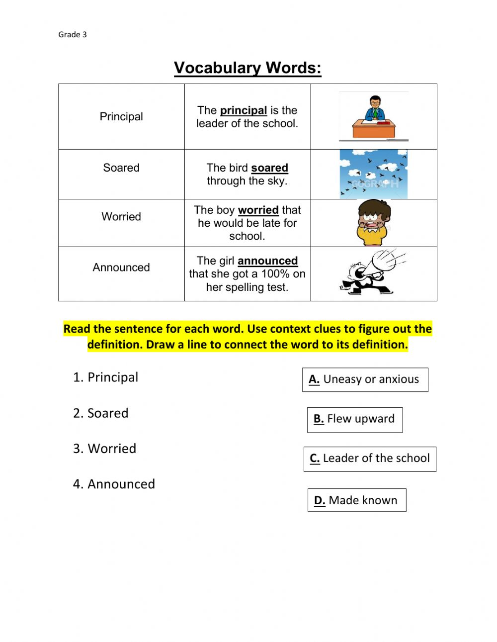 hight resolution of Context Clues online worksheet for 3