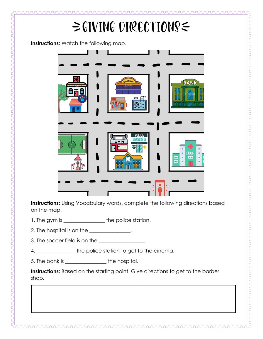 medium resolution of Giving directions interactive worksheet for Grade 3