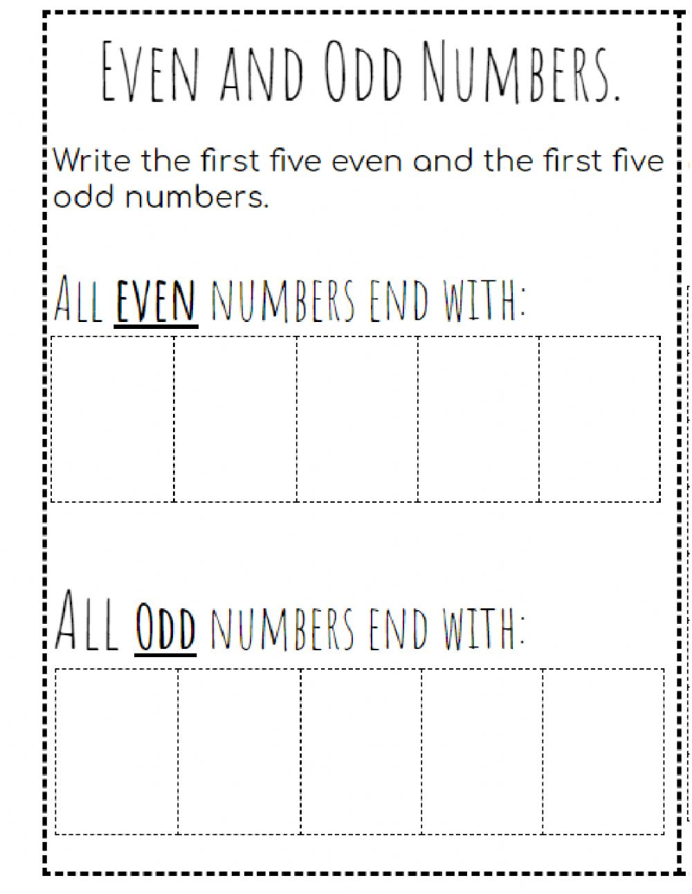 hight resolution of Even and Odd numbers interactive worksheet