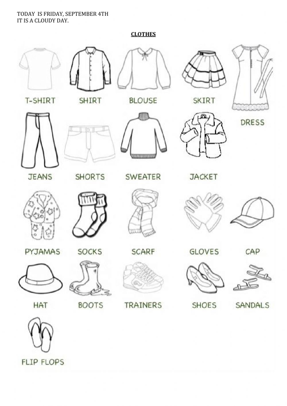 medium resolution of Clothes online exercise for Grade 3