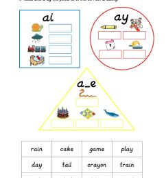 Phonics: ai - ay - a-e worksheet [ 1413 x 1000 Pixel ]
