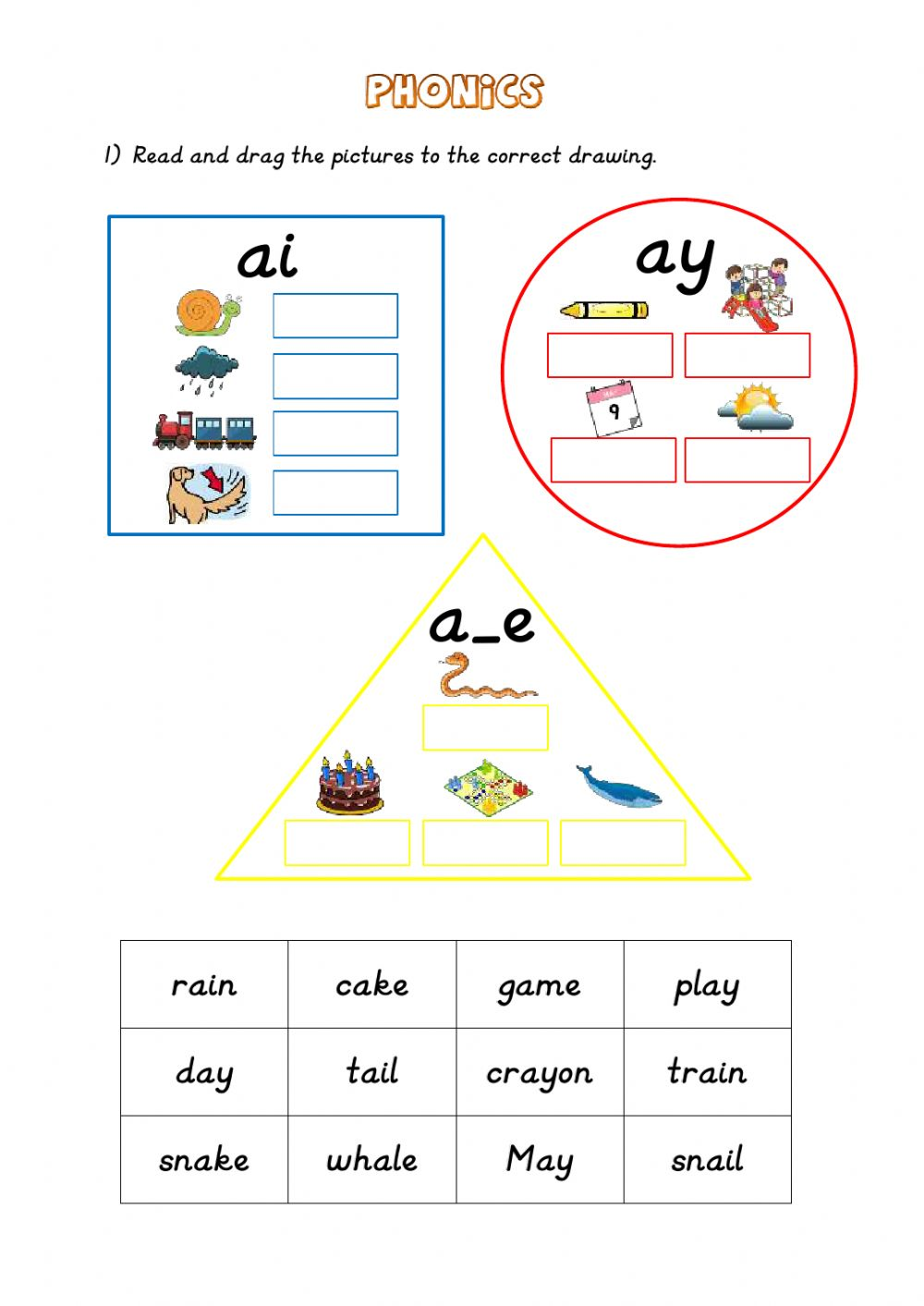medium resolution of Phonics: ai - ay - a-e worksheet