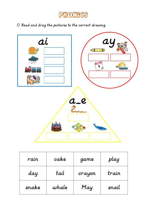 small resolution of Phonics: ai - ay - a-e worksheet