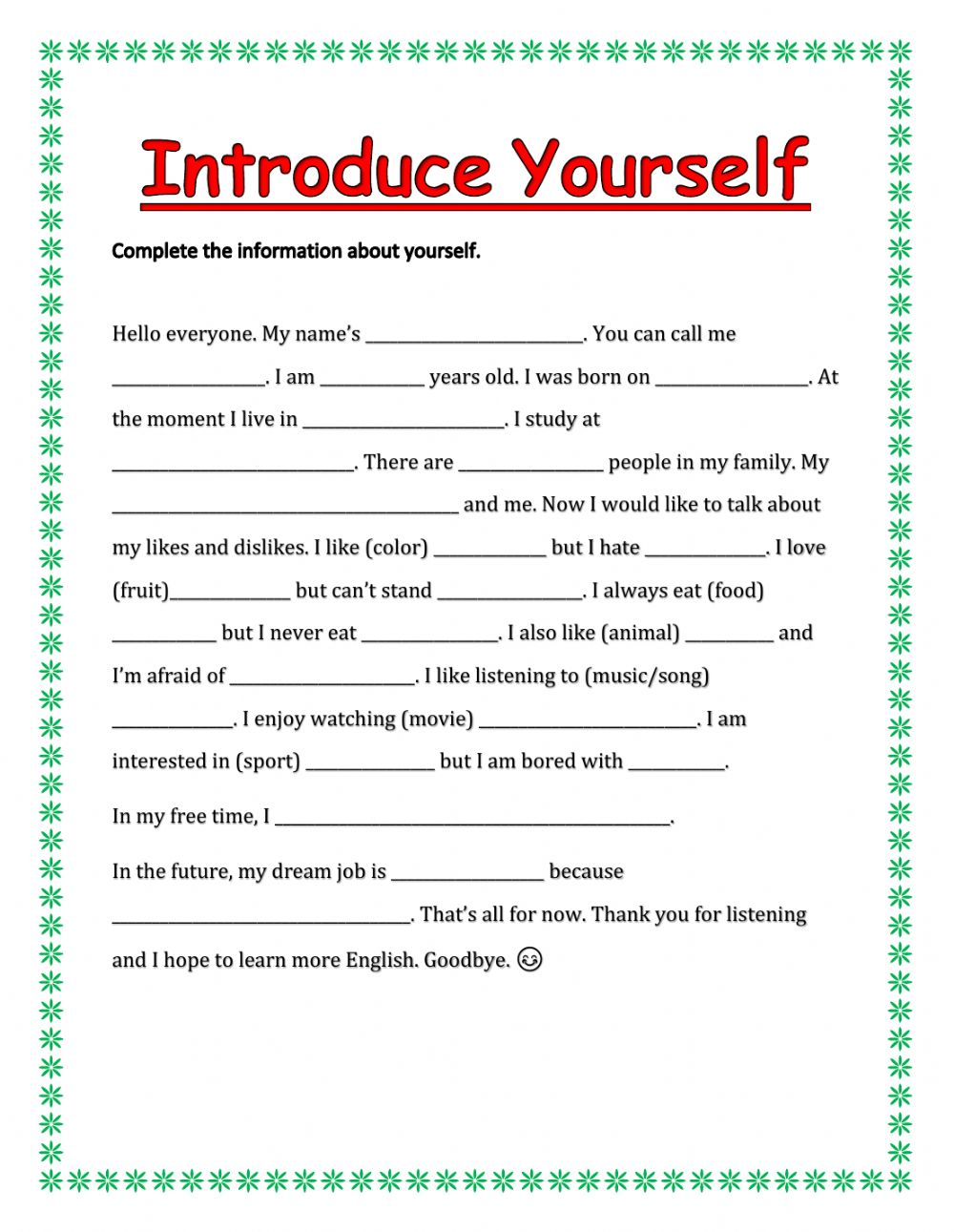 hight resolution of Introduce yourself interactive exercise