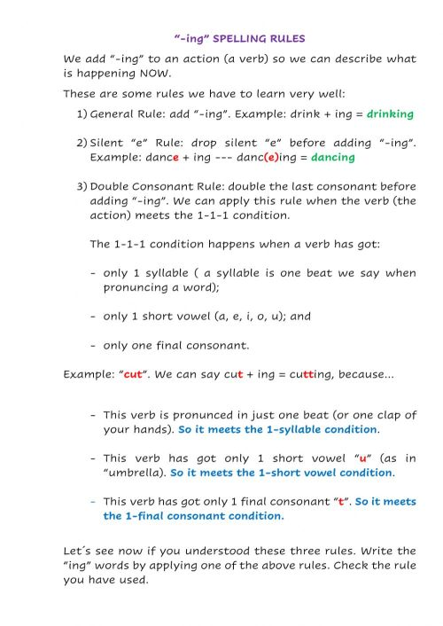 small resolution of ing- spelling rules interactive worksheet