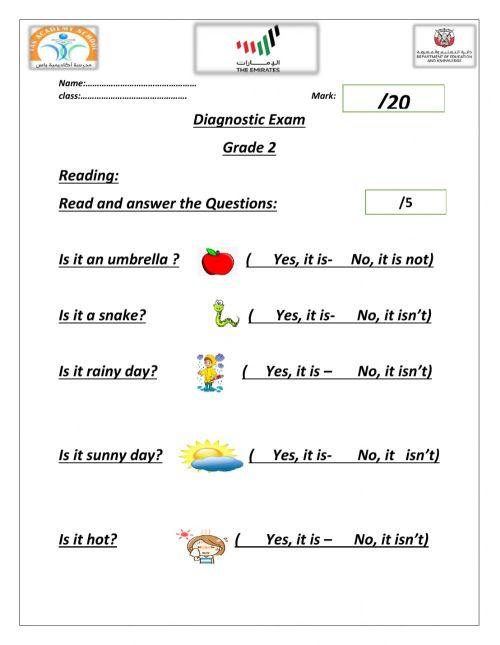 small resolution of English Diagnostic Test worksheet