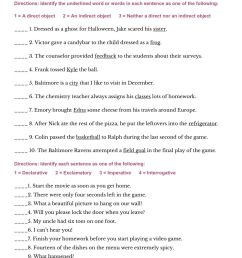 Direct and Indirect Objects and 4 Types of Sentences worksheet [ 1291 x 1000 Pixel ]