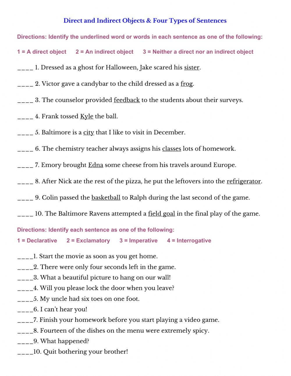 hight resolution of Direct and Indirect Objects and 4 Types of Sentences worksheet