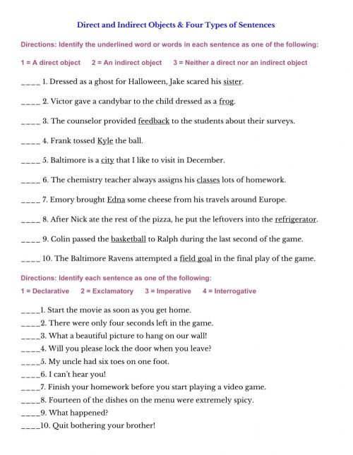 small resolution of Direct and Indirect Objects and 4 Types of Sentences worksheet