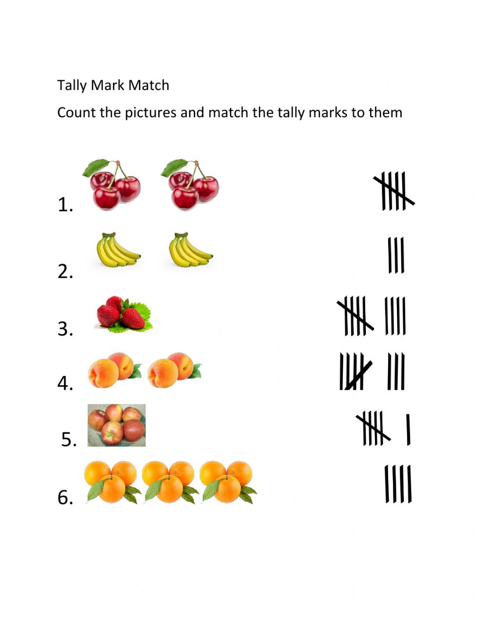 hight resolution of Matching Tally Marks worksheet