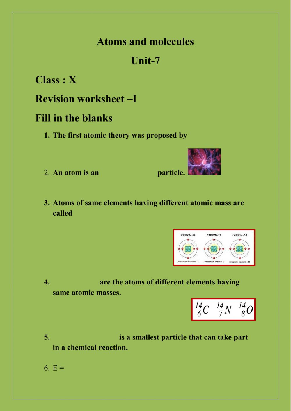hight resolution of Atoms and molecules worksheet