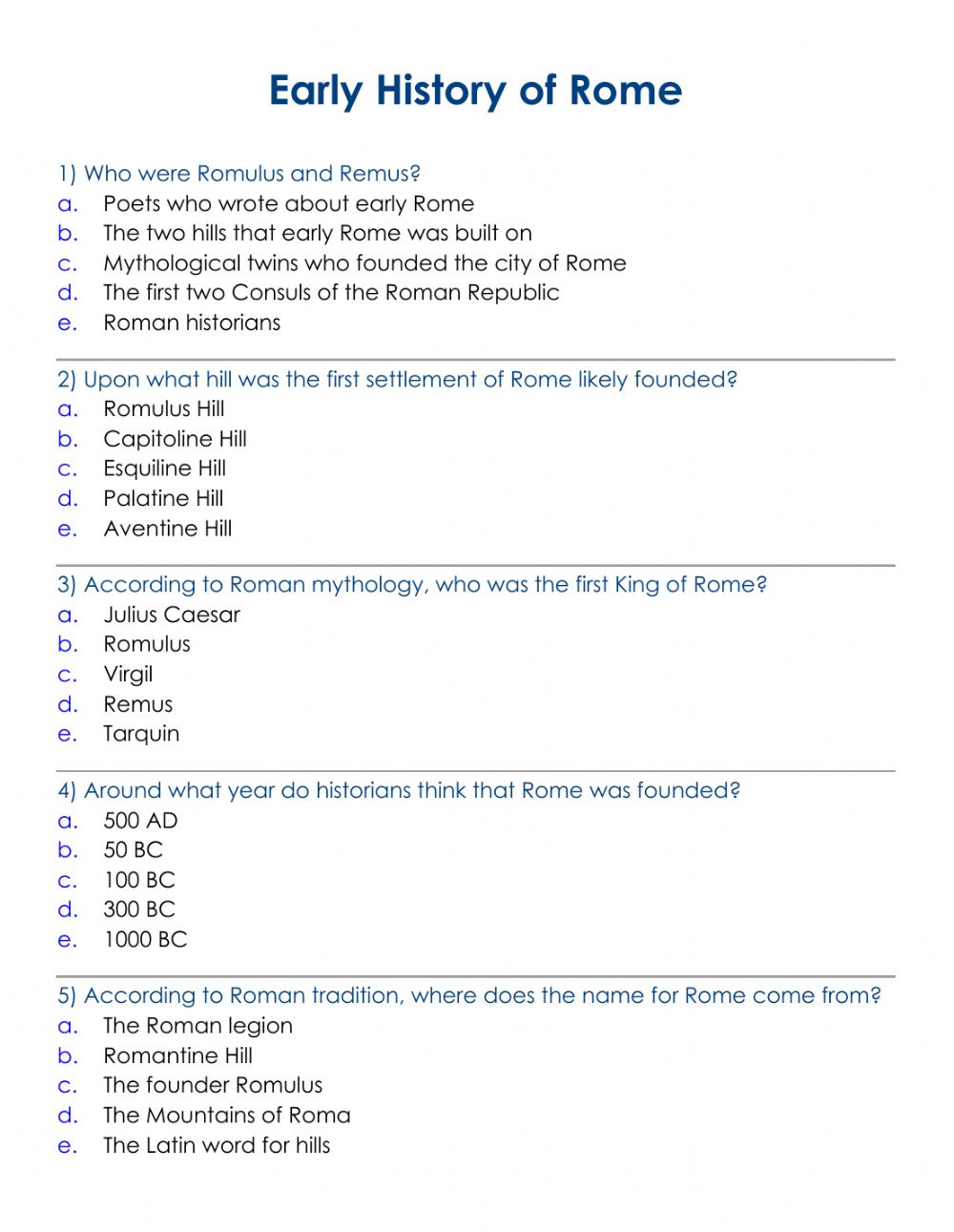 hight resolution of Ancient Rome. Early HIstory worksheet