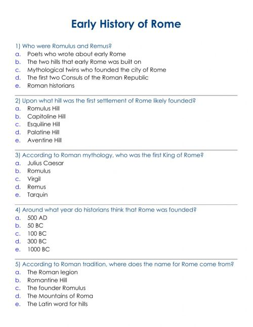 small resolution of Ancient Rome. Early HIstory worksheet