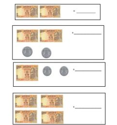 Money calculating 10 Rs notes and 1 re.coins worksheet [ 1291 x 1000 Pixel ]