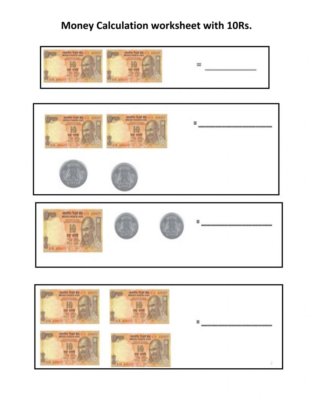 hight resolution of Money calculating 10 Rs notes and 1 re.coins worksheet