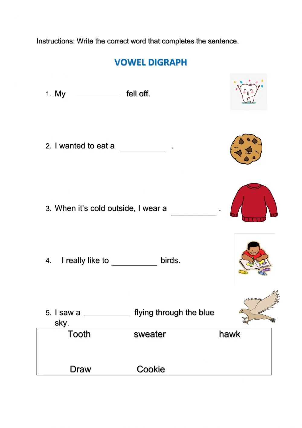 hight resolution of Vowel Digraphs activity