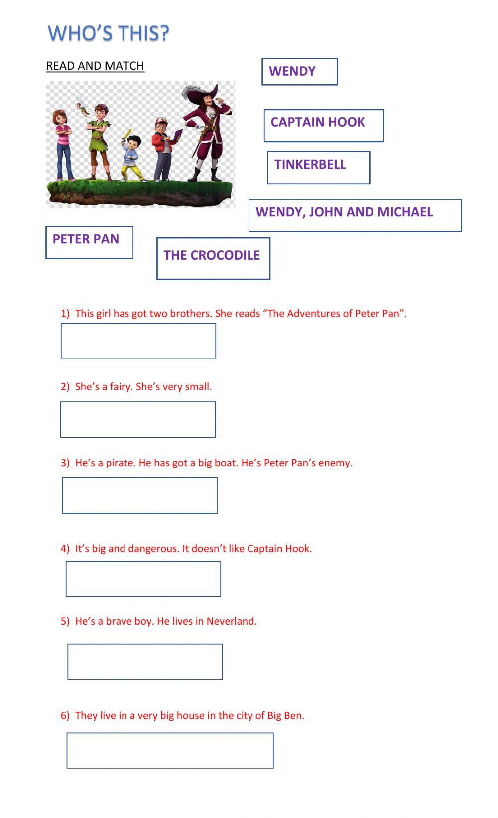 hight resolution of Peter Pan online exercise