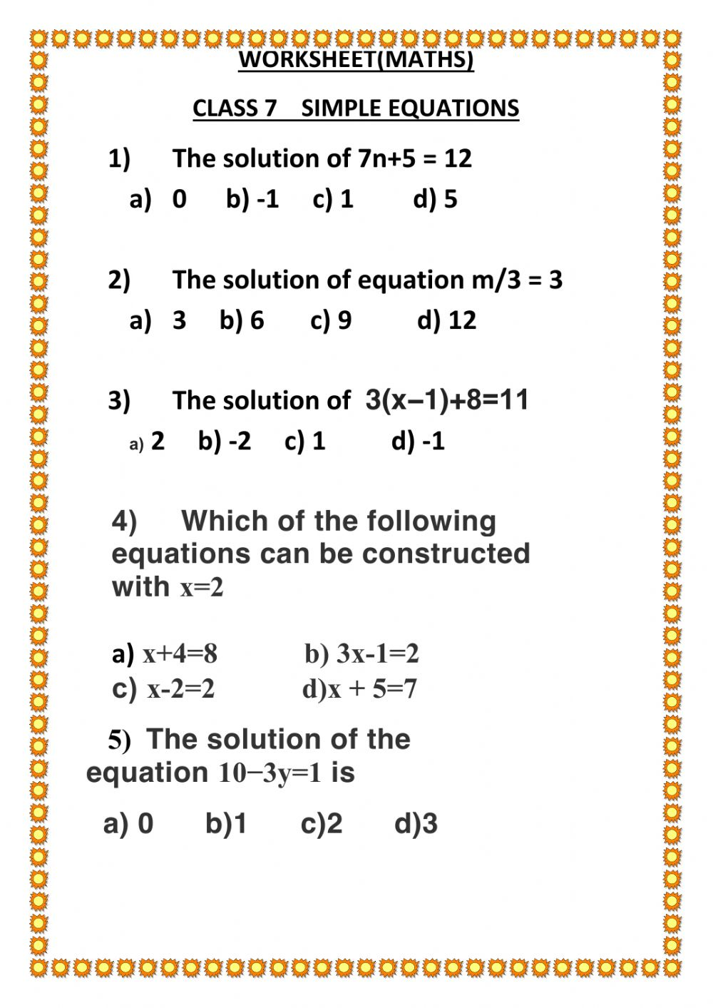 hight resolution of Simple equations worksheet