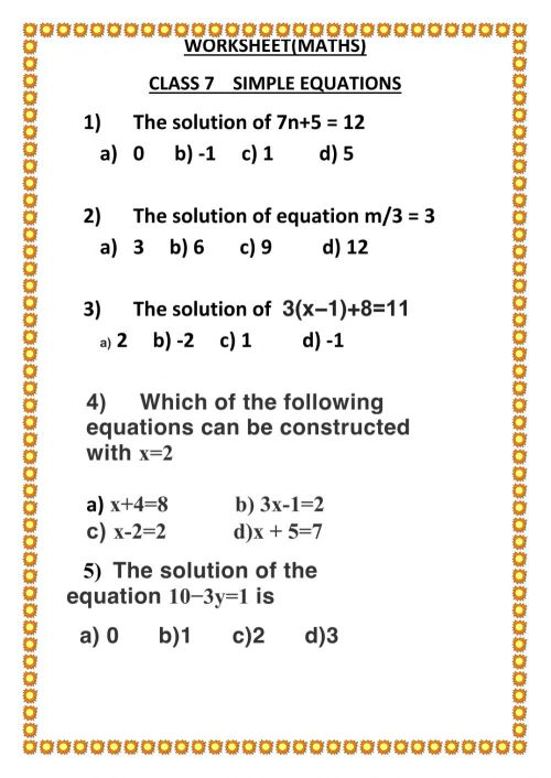 small resolution of Simple equations worksheet
