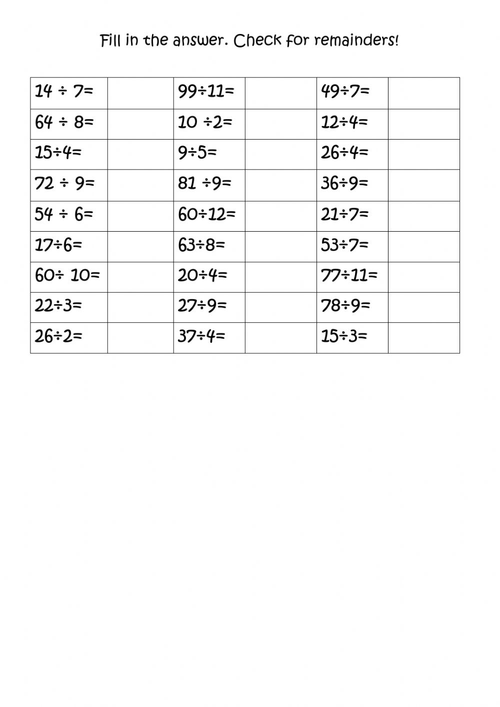 hight resolution of Division with and without remainders worksheet