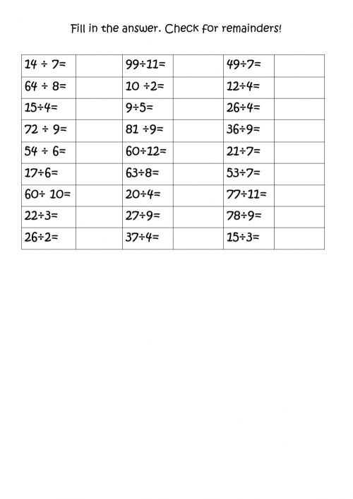 small resolution of Division with and without remainders worksheet