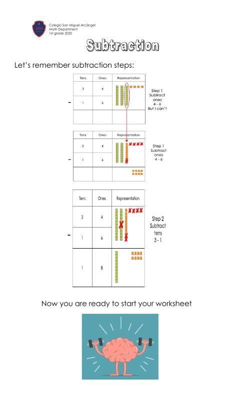 small resolution of Subtractions with regrouping interactive worksheet