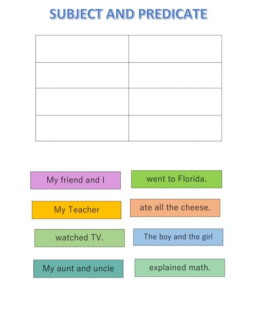 small resolution of Subject and Predicate online worksheet for Second Grade