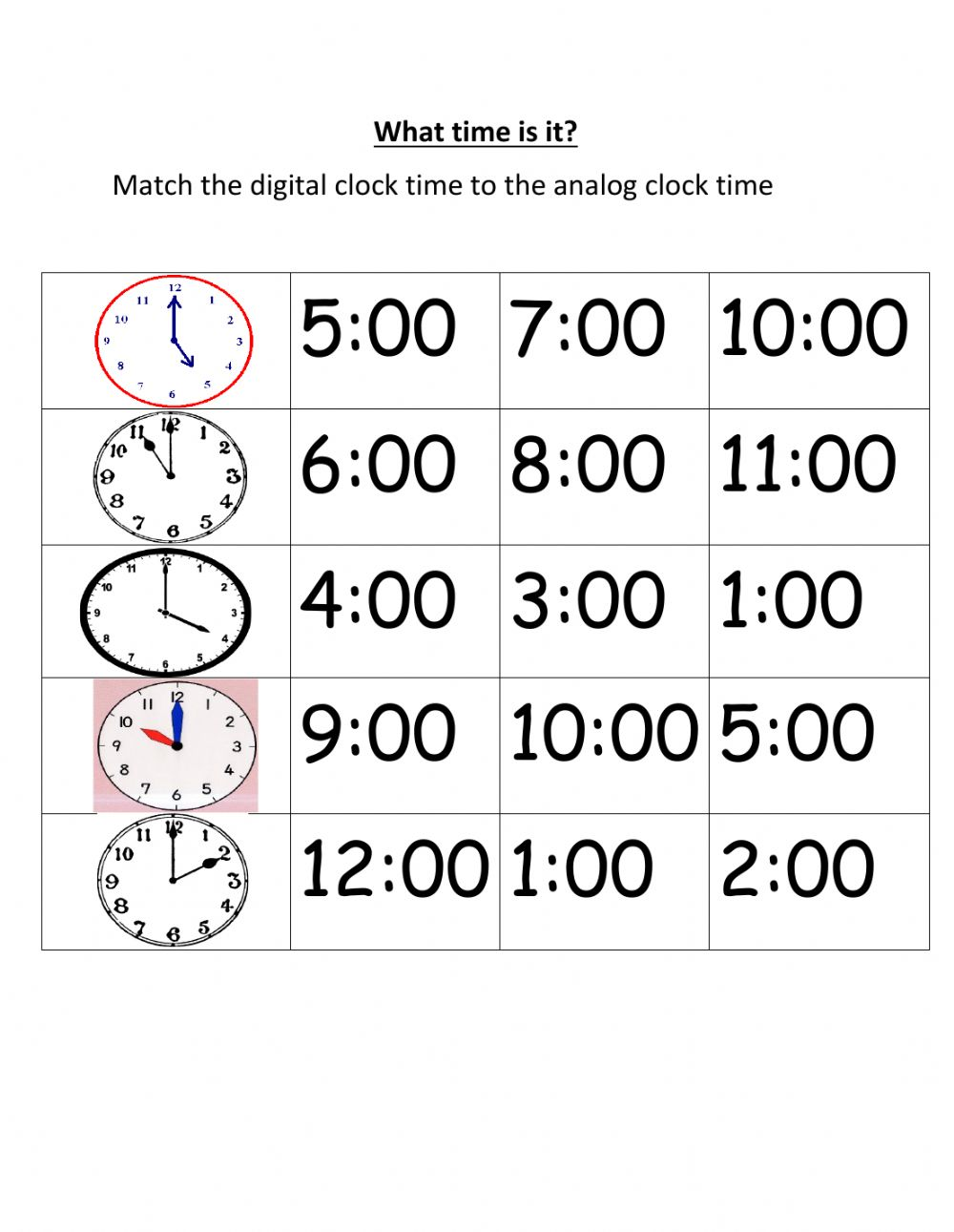 medium resolution of Matching time exercise