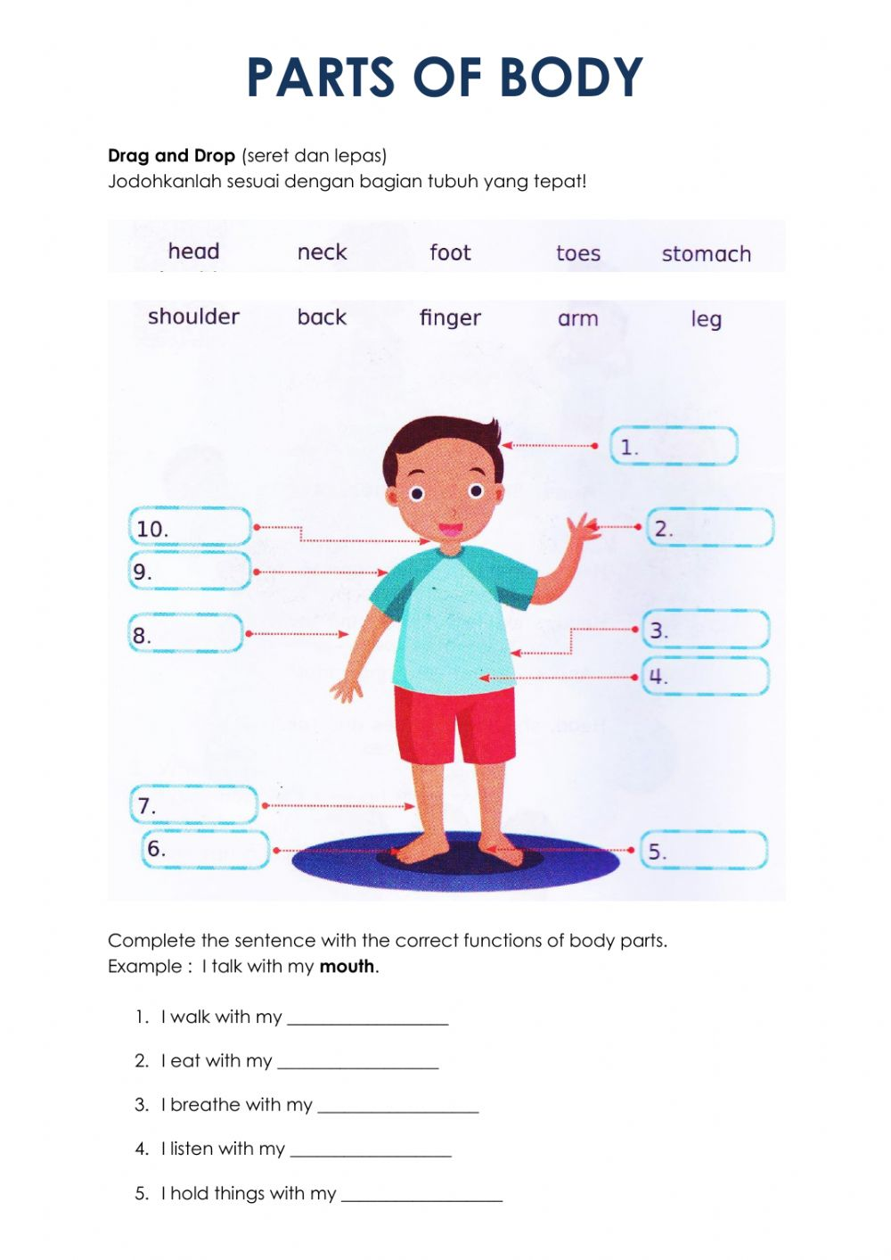 hight resolution of Parts of Body interactive worksheet for Grade 5