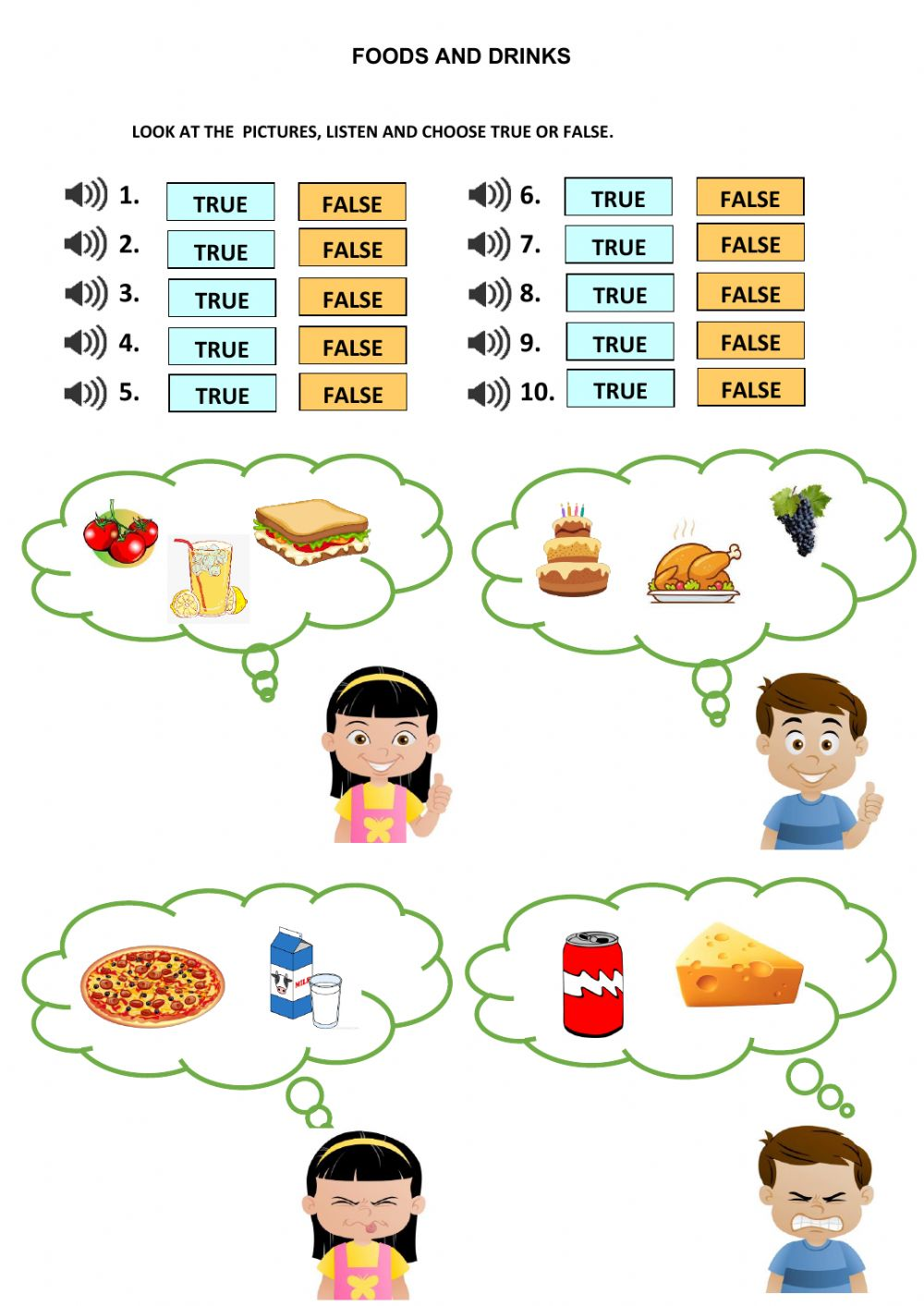 Food and drinks worksheet for kids
