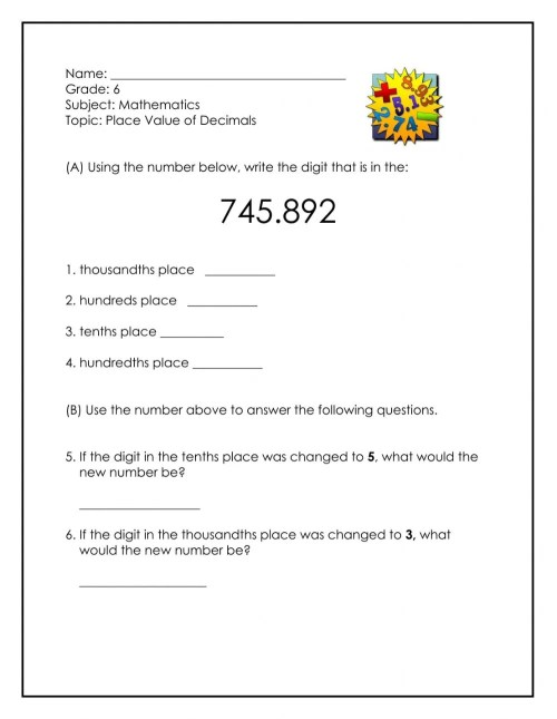 small resolution of Place Value of Decimals worksheet