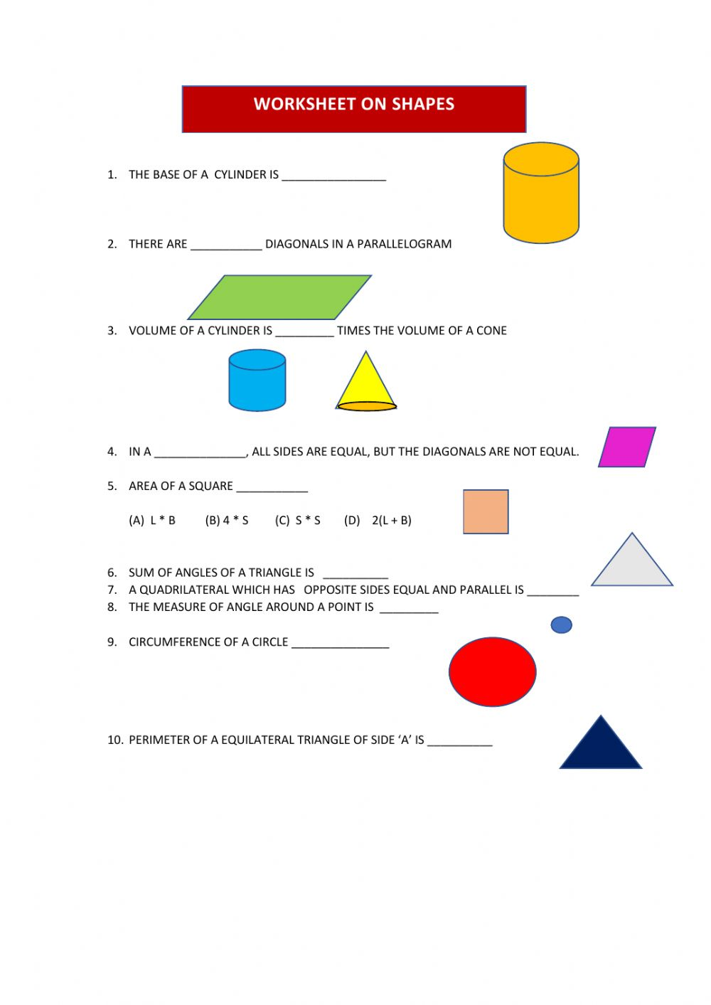 medium resolution of Shapes online exercise for 8TH