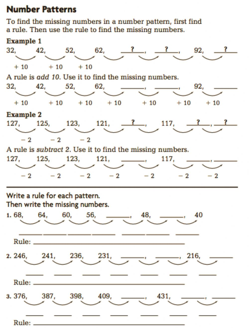 hight resolution of Grade 3 Number Pattern interactive worksheet
