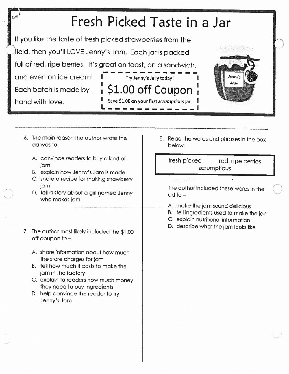 hight resolution of Author's Purpose Assessment worksheet