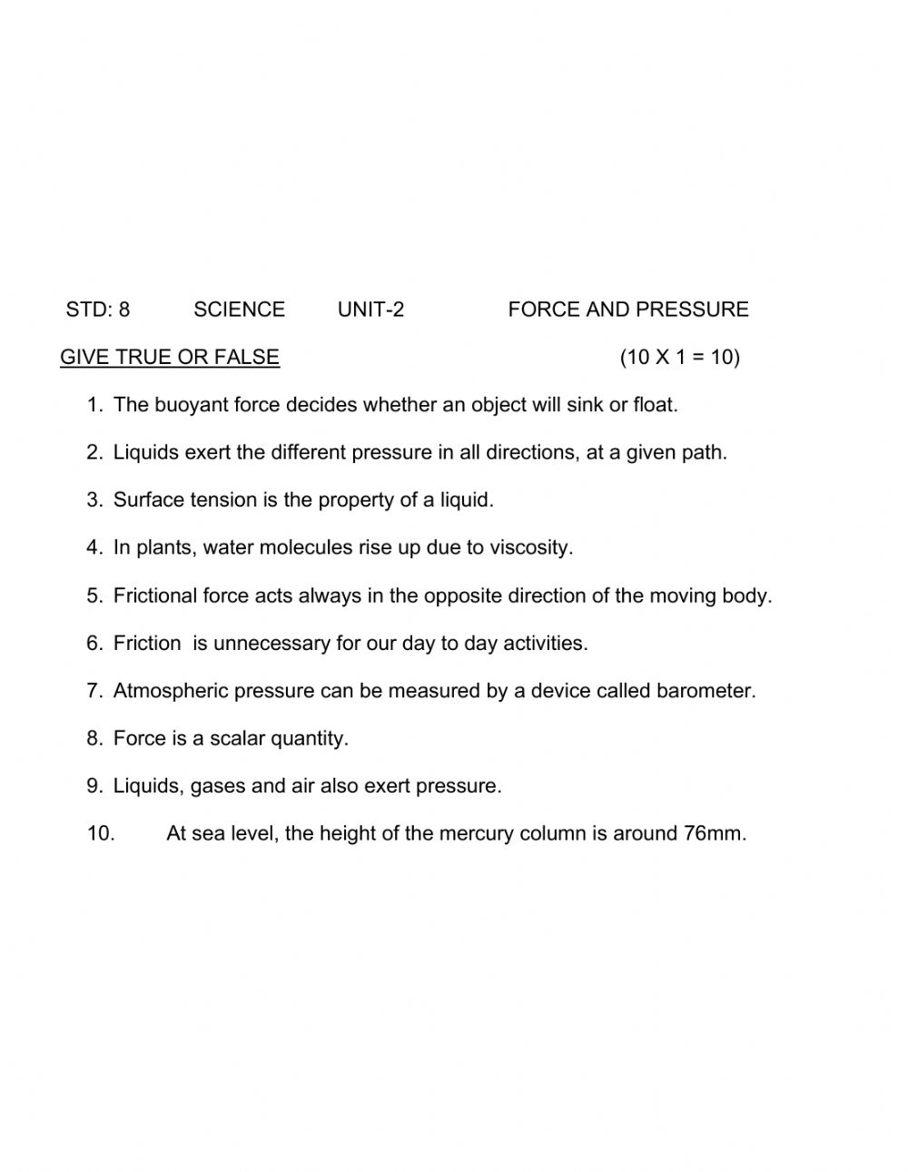 hight resolution of Force and pressure true or false worksheet