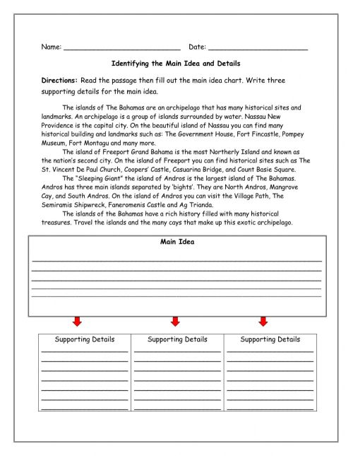 small resolution of Main Idea worksheet for 4-6