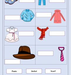 The clothes worksheet for Grade 3 [ 1643 x 1000 Pixel ]