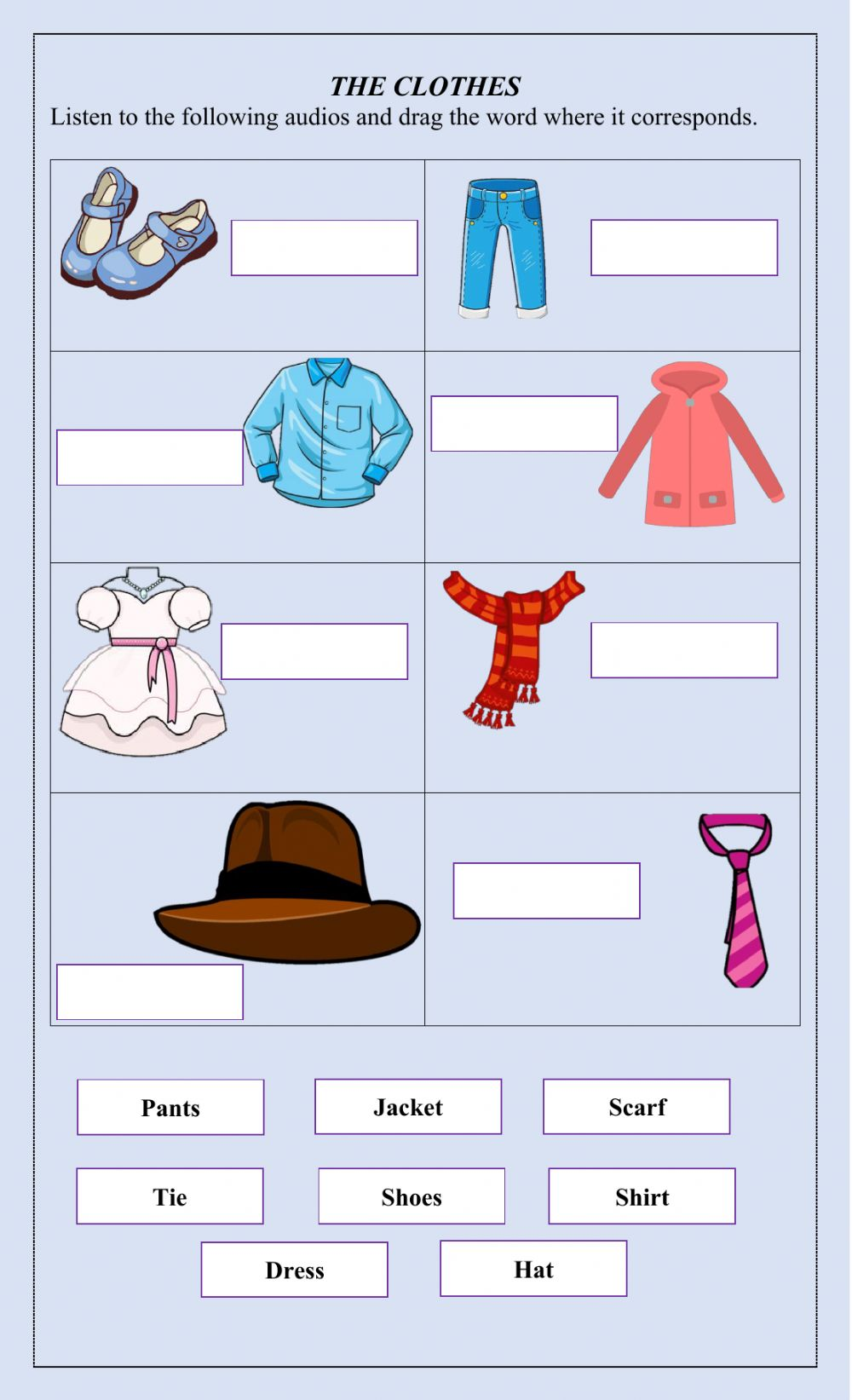 medium resolution of The clothes worksheet for Grade 3