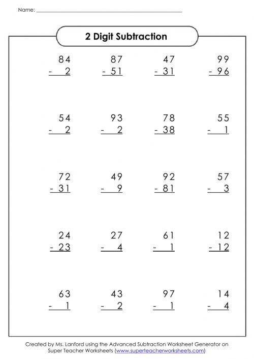 small resolution of 2 digit subtraction no borrowing worksheet