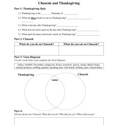 Chuseok \u0026 Thanksgiving worksheet [ 1413 x 1000 Pixel ]