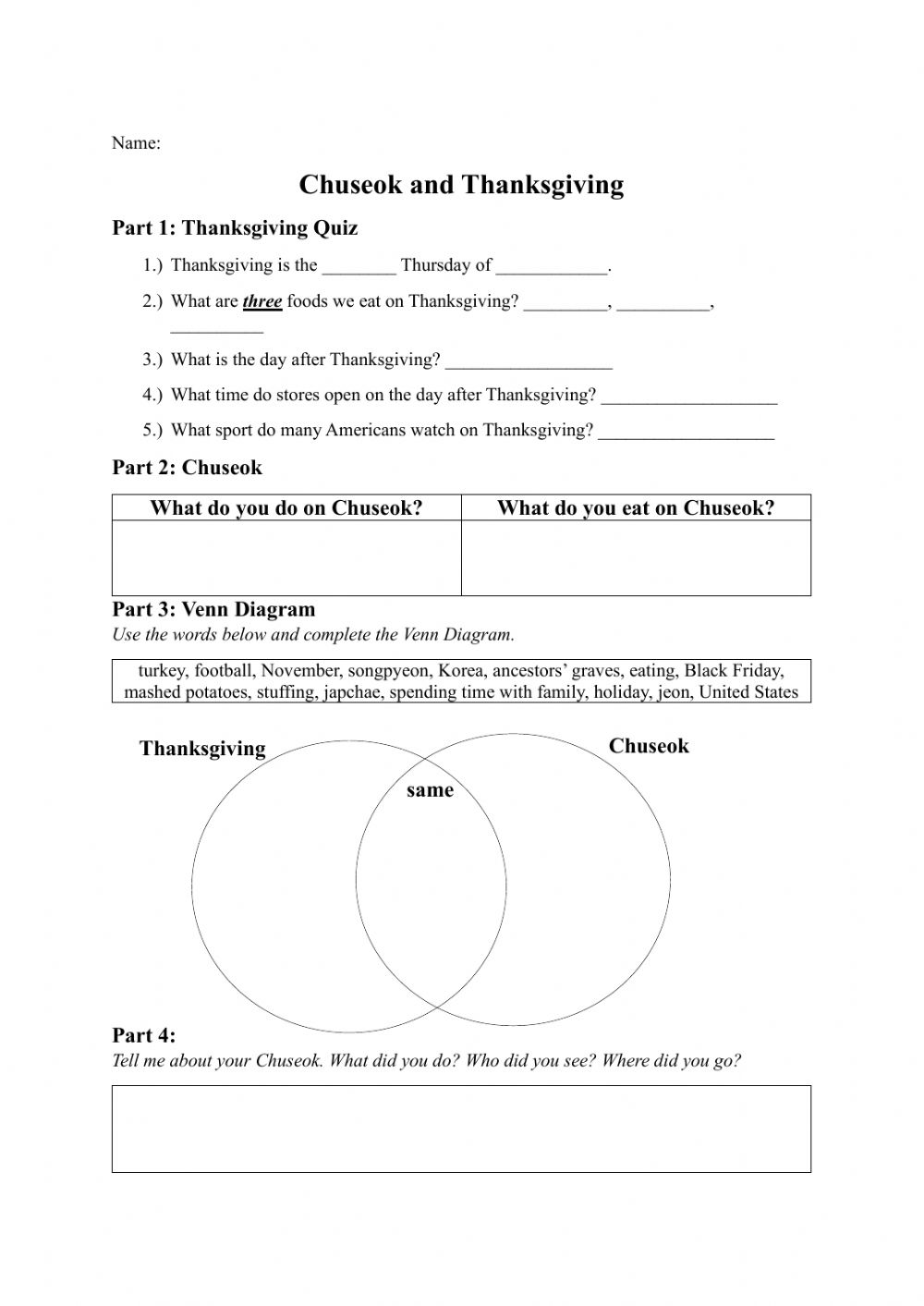 medium resolution of Chuseok \u0026 Thanksgiving worksheet