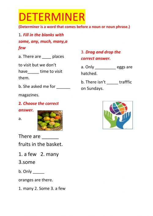 small resolution of Determiners online worksheet for Grade 7