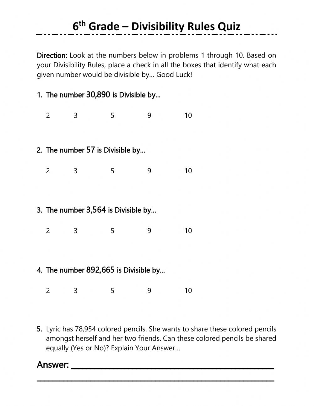 hight resolution of 6th Grade Divisibility Rules Quiz worksheet