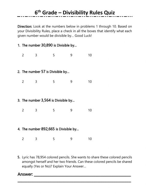 small resolution of 6th Grade Divisibility Rules Quiz worksheet