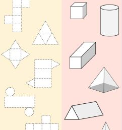 Matching 3D shapes and their nets worksheet [ 1414 x 1000 Pixel ]
